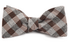 Splattered Gingham Brown Bow Tie