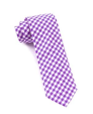 New Gingham Plum Tie