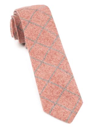 Printed Flannel Pane Orange Tie