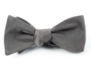 Grosgrain Solid Titanium Bow Tie