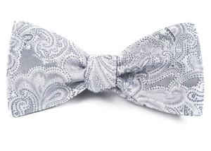 Designer Paisley Silver Bow Tie