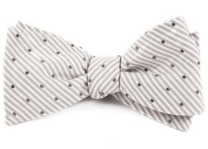 Down The Aisle Dots Silver Bow Tie