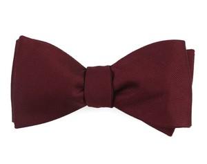 Grosgrain Solid Wine Bow Tie