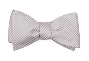 Mumu Weddings - Coastal Stripe Dusty Blush Bow Tie