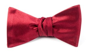 Solid Satin Red Bow Tie