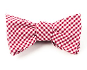 Petite Gingham Red Bow Tie