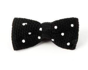 Knit Polkas Black Bow Tie