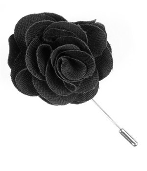 Astute Solid Charcoal Lapel Flower
