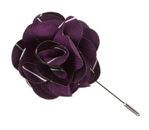 Pencil Pinstripe Plum Lapel Flower