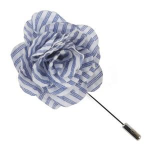 Seersucker Blue Lapel Flower
