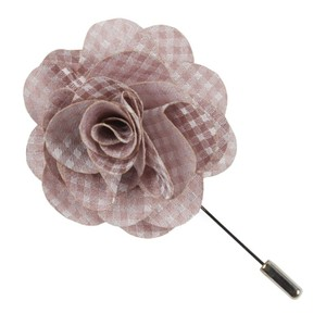 Be Married Checks Soft Pink Lapel Flower