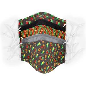 5 Pack Cotton Charcoal Kwanzaa Face Mask