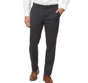 Solid Wool Charcoal Dress Pants