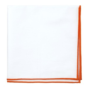 White Cotton With Border Tangerine Pocket Square