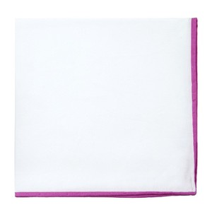 White Cotton With Border Fuchsia Pocket Square
