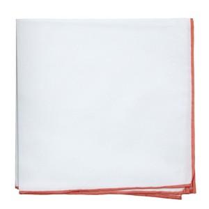White Cotton With Border Coral Pocket Square