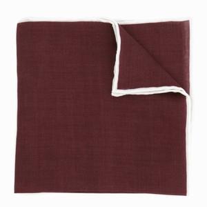 Linen with White Border Burgundy Pocket Square