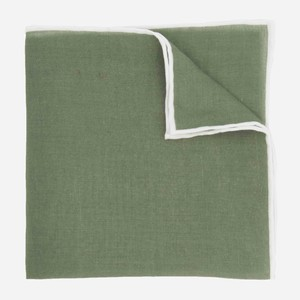 Linen with White Border Olive Green Pocket Square