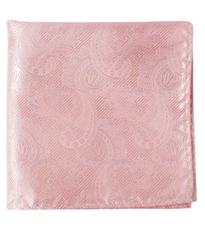 Twill Paisley Blush Pink Pocket Square