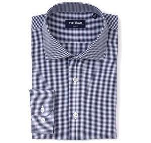 Petite Gingham Navy Non-Iron Dress Shirt
