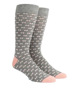 Bow Tie Warm Grey Dress Socks