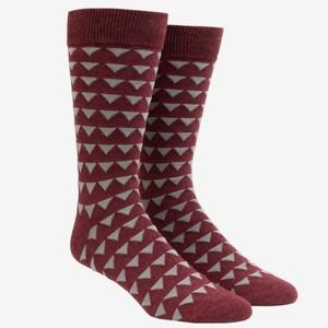 Triangle Geo Burgundy Dress Socks
