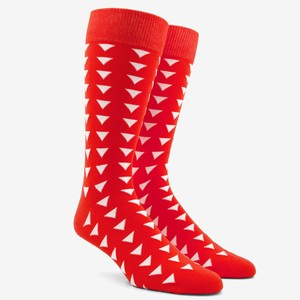 Triangle Geo Tomato Red Dress Socks