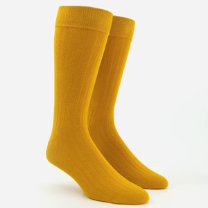 Wide Ribbed Mustard Dress Socks
