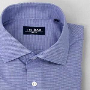 Petite Houndstooth Navy Non-Iron Dress Shirt