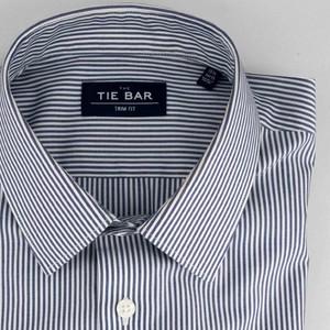 Vertical Stripe Blue Non-Iron Dress Shirt