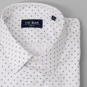 Printed Dot White Dress Shirt