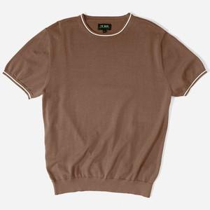 Tipped Crewneck Brown T-Shirt