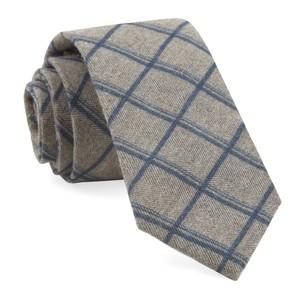 Brushed Cotton Jet Plaid Navy Tie
