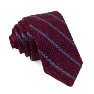 Striped Pointed Tip Knit Burgundy Tie