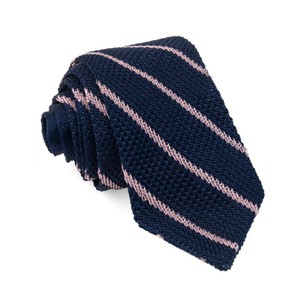 Striped Pointed Tip Knit Navy Tie