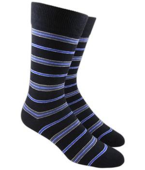 Clinton Stripe Black Dress Socks