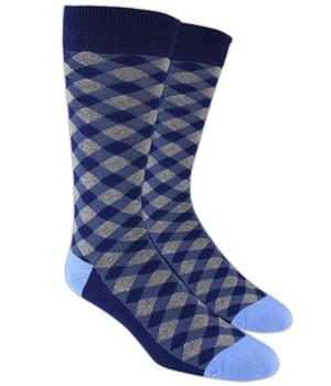 Textured Diamonds Blue Dress Socks