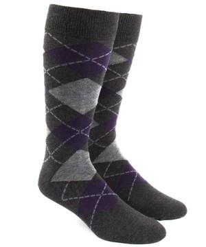 Argyle Charcoal Dress Socks
