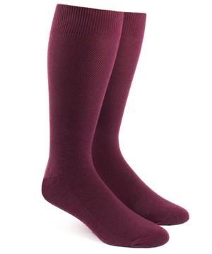 Solid Texture Burgundy Dress Socks