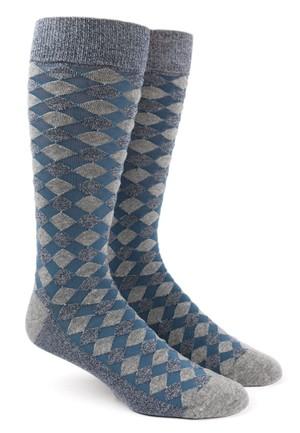Textured Diamonds Blues Dress Socks