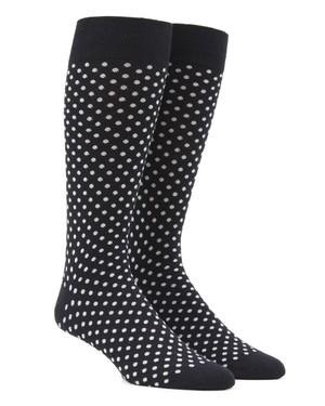 Pindot Black Dress Socks