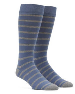 Trad Stripe Slate Blue Dress Socks