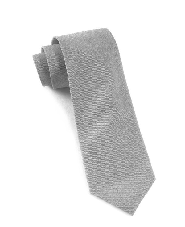 Solid Cotton Light Grey Tie