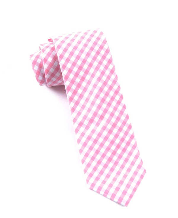 New Gingham Pink Tie