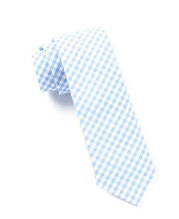 New Gingham Sky Blue Tie