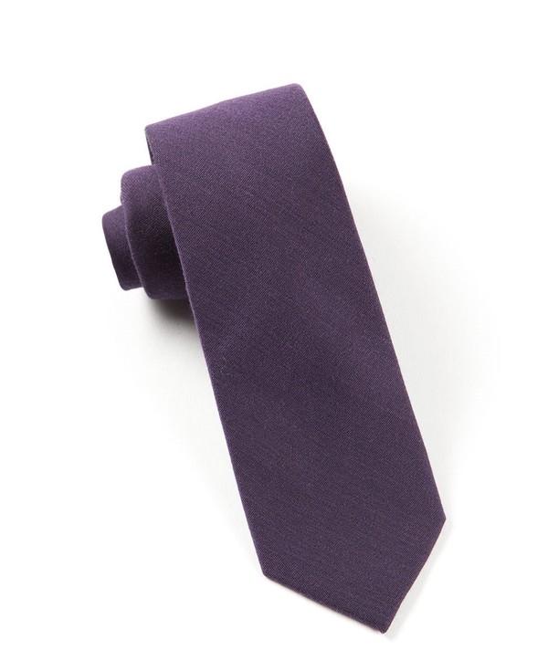 Solid Wool Eggplant Tie