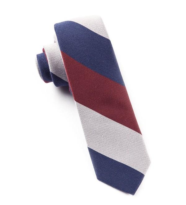 Big Wool Stripe Navy Tie