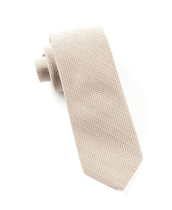 Wool Herringbone Carmel Tie