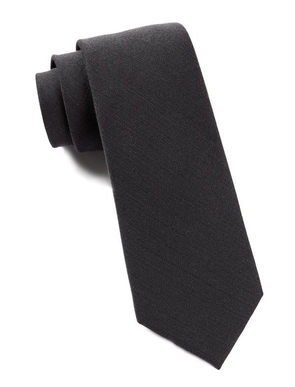 Solid Wool Metallic Grey Tie