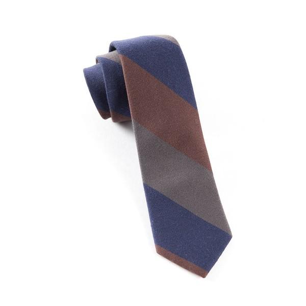 Big Wool Stripe Brown Tie